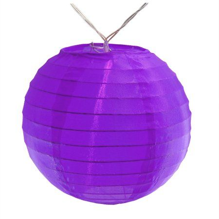 LumaBase Battery Operated String Light with 6 inch Nylon Lanterns, 10 Lanterns, Purple