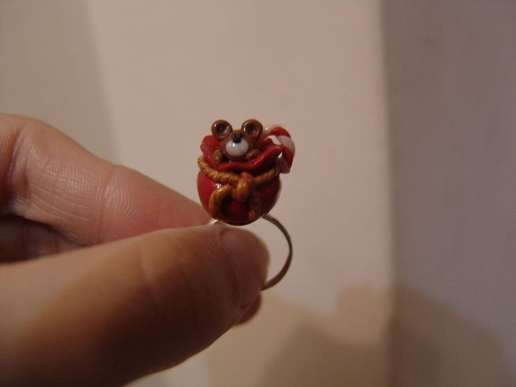 polymer clay santa's bag ring https://www.facebook.com/ClayMiniGifts/