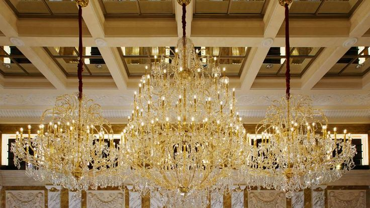 Customized Big Chandelier for Imperial Hotel Wien, Austria.  www.isaaclight.com #lighting #lobby #hotel #project #interiordesign