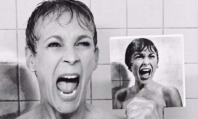Jamie Lee Curtis recreates her mother's famous Psycho shower scene