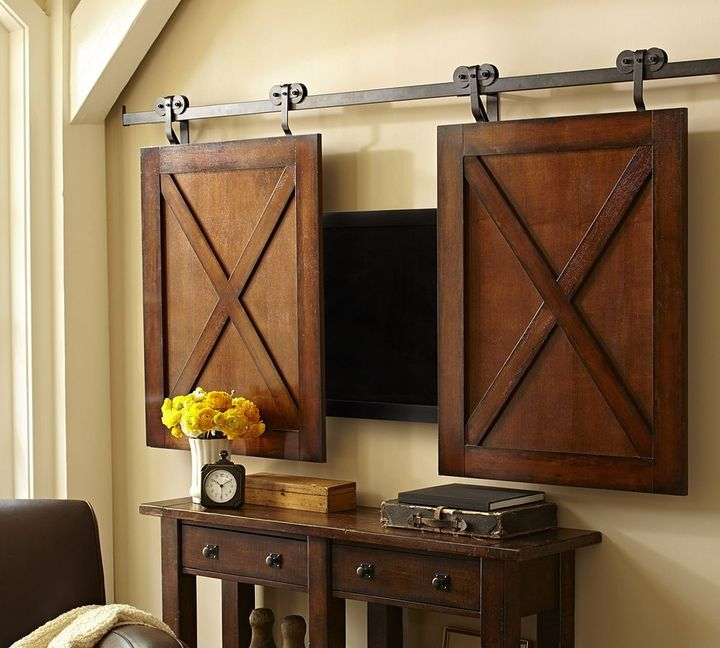 Rolling mini doors over your flatscreen TV - clever! I could create these - Inspired from Pottery Barn Rolling Cabinet Media Solution