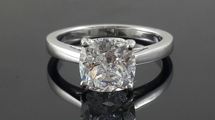 AAAAA grade cubic zirconia Cushion cut solitaire Ring .925 sterling silver by IsaBellaJewellery on Etsy