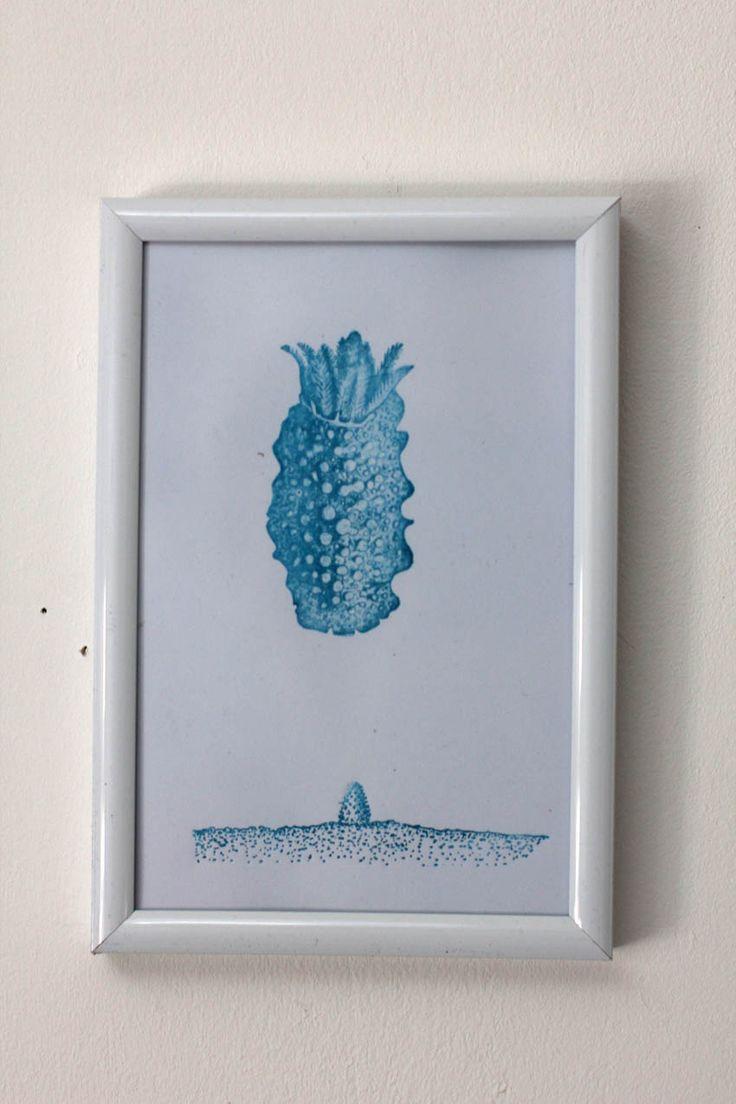 """carte imprimée motif surréaliste """"Rencontre 2"""" bleu : Imprimés par ampersand-press-lab-ig"""