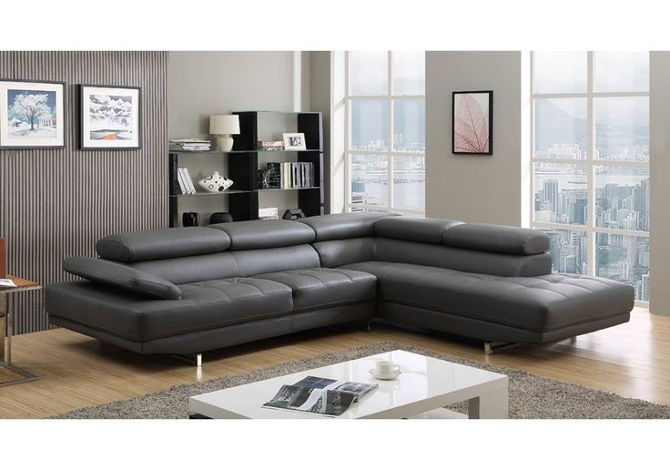 Milano Stylist Modern Grey Leather Corner Sofa Right/Hand