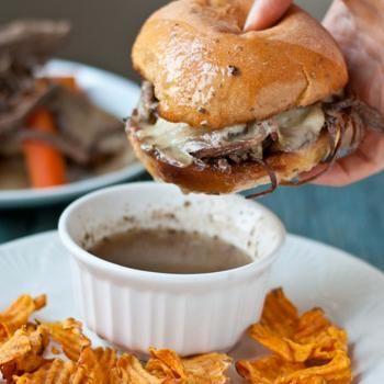 Slow Cooker Beef Brisket French Dip Sandwiches #SundaySupper