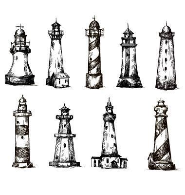 Set of cartoon lighthouses icons pencil drawing vector by kamenuka on…