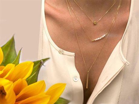 Trippelradigt halsband guld