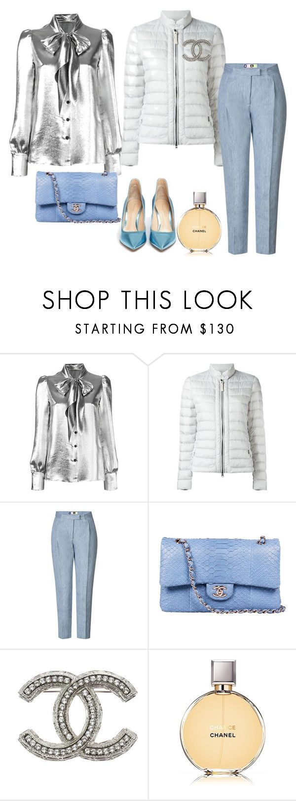 """BLUE ICE"" by katya-ukraine on Polyvore featuring мода, Yves Saint Laurent, Woolrich, MSGM, Chanel и Gianvito Rossi"