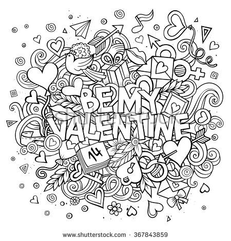Cartoon vector hand drawn Doodle Be My Valentine illustration. Line art detailed design background with objects and symbols. All objects are separated