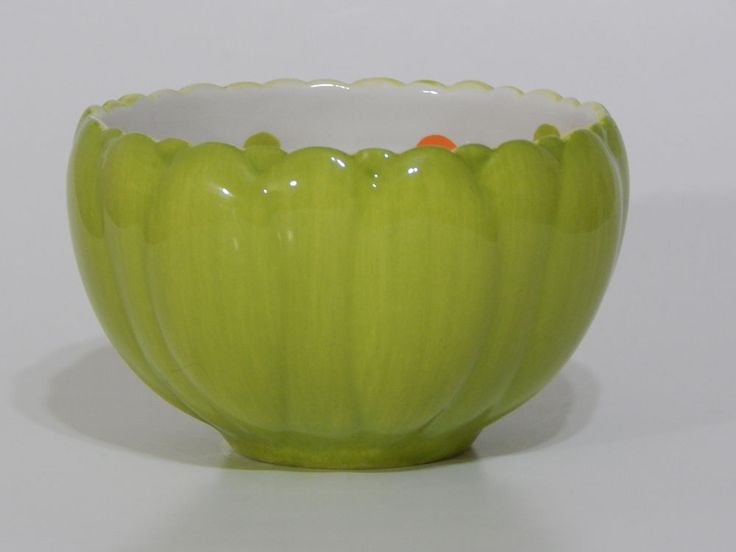 Home and Garden Party Summer Brights Green Dessert Bowl Polka Dot Retired 2008   #HomeandGardenParty #SummerBrights #PolkaDots