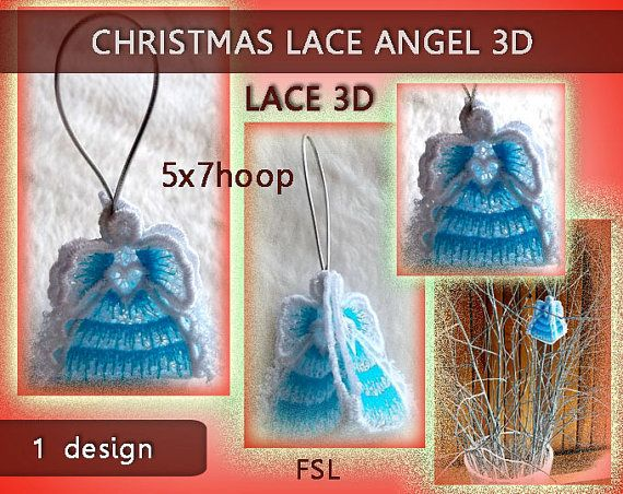 Christmas Angel  mini  lace 3D  FSL  5x7hoop  by EmbroideryRady