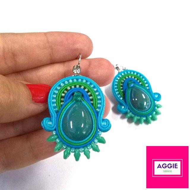 Turkusowe kolczyki sutasz ;  Niebieskie kolczyki sutasz ;  Morskie kolczyki sutasz ; Muszla paua abalone ;  Blue soutache earrings ; Turquoise soutache earrings