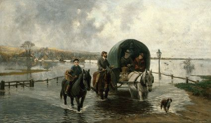 "Oil painting from the Fine Art collection. ""Bramber Flooding"" by Clement Lambert, showing a horse and cart accompanied by two riders, all riding through flooded landscape with village at background left."