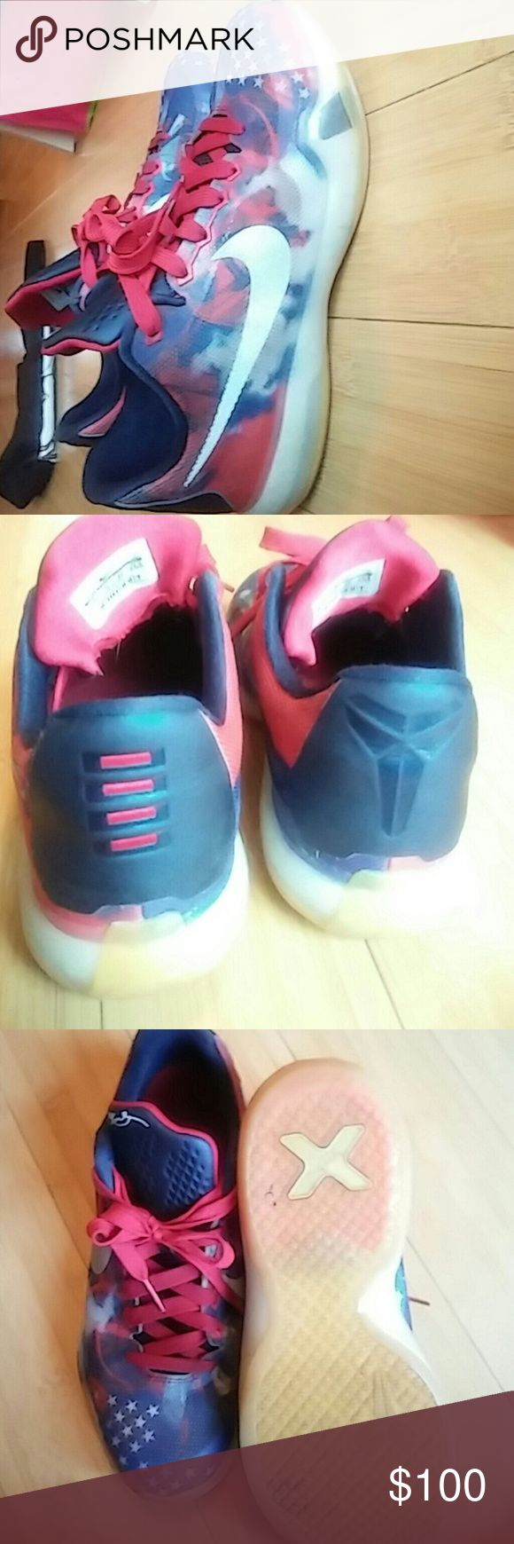 Nike Kobe 4th of July edition used Nike Kobe used but new some marks but not noticeable 6.5 for kids box not included Nike Shoes Athletic Shoes