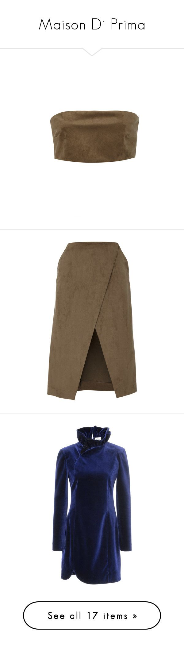 """Maison Di Prima"" by designing-myworld ❤ liked on Polyvore featuring tops, crop top, green, white top, bandeau crop top, sleeveless crop top, no sleeve tops, skirts, brown skirt and brown knee length skirt"