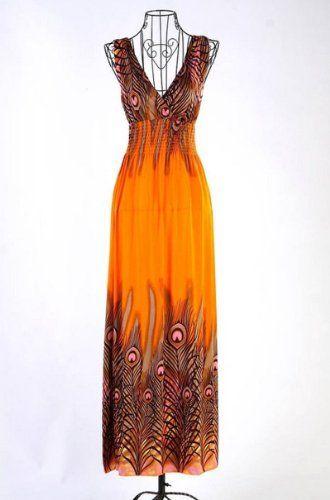 Vendita calda estate sulla promozione ~ V profondo collare pavone della Boemia Summer Long Beach del vestito / Gonna Dress V-Neck Vestito estivo / Casa Dress-3 colori disponibili (arancione) BC http://www.amazon.it/dp/B00KA2OBWG/ref=cm_sw_r_pi_dp_pRO5tb011EVZP