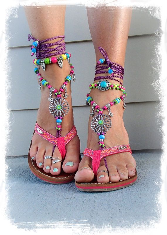 SUNFLOWER Barefoot Sandals Hippie FESTIVAL sandals Fleur by GPyoga