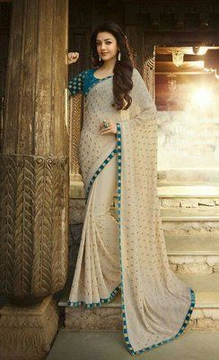 Offwhite Embrodired Georgette Party Wear Saree With Blouse Bollywood Sarees Online on Shimply.com