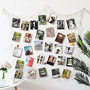 RECESKY Fishing Net Photo & Artwork Hanging Display - Family Pictures Children Artwork and Painting Display - Home Party Bedroom Wall Decorations - Multi Picture Frames Collage Decor (with 40 Clip)