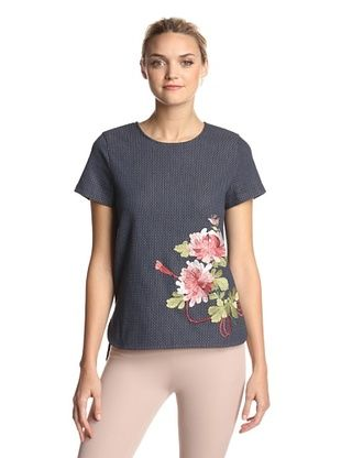 65% OFF Natori Women's Shibori Embroidered Top (Night Navy)