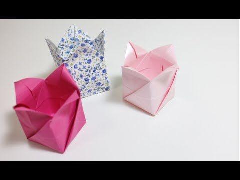 Origami Tutorial: Tulip box - not in English, but pretty straightforward.