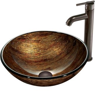 @Overstock.com - VIGO Amber Sunset Glass Vessel Sink and Faucet Set in Oil Rubbed Bronze - The Vigo Amber Sunset Above the Counter Round Tempered Glass Vessel Sink in Multicolor brings the elegance of sunset into your home, no matter what time of day.  http://www.overstock.com/Home-Garden/VIGO-Amber-Sunset-Glass-Vessel-Sink-and-Faucet-Set-in-Oil-Rubbed-Bronze/6368172/product.html?CID=214117 $199.79