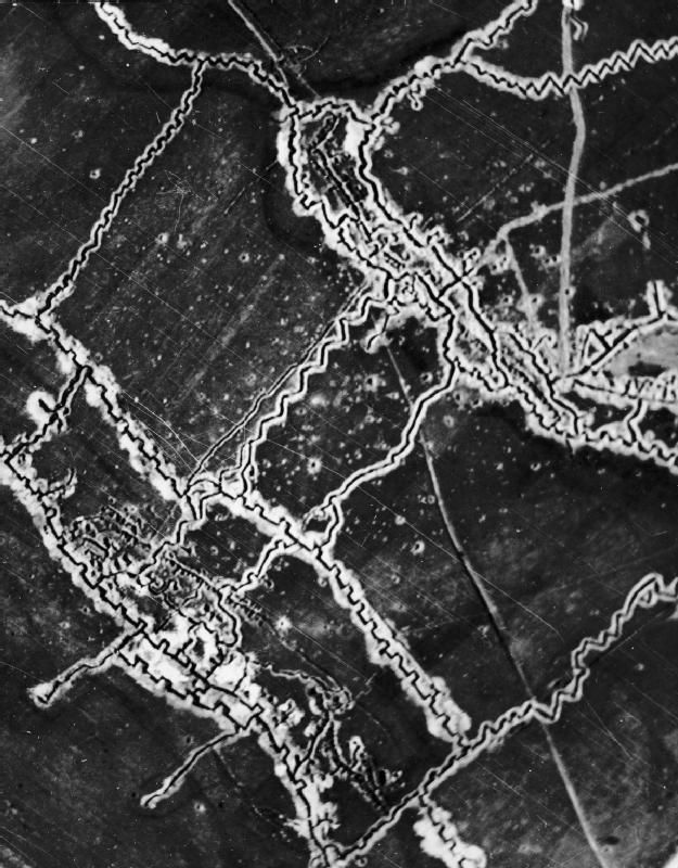 An aerial photo of the Schwaben Redoubt reveals the incredible complexity of trench lines on the Western Front.