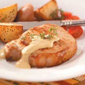 Pork Chops with Dijon Sauce Recipe: this was a hit with the Hubs (and he's not a big mustard fan).  I used honey mustard and milk instead of what the recipe calls for and it was still tasty :)