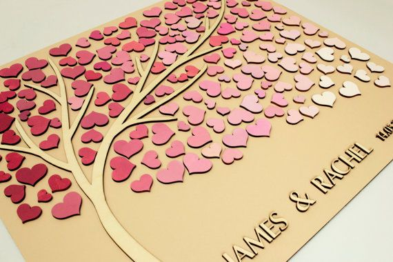 Custom Wedding Guest Book Alternative Tree 3D Wood hearts Rustic Wedding Rustic Guest Book Unique Guestbook Tree of life