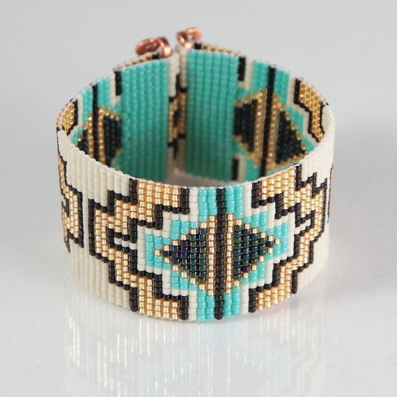Abiquiu Bead Loom Bracelet Artisanal Jewelry by PuebloAndCo