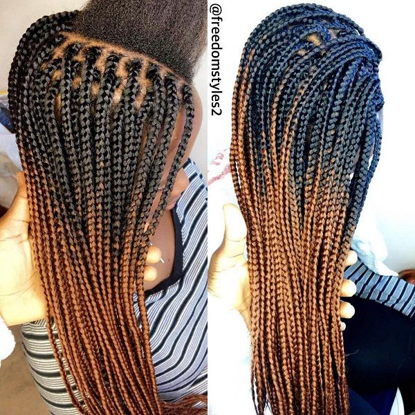 ombre brown box braids for African American women