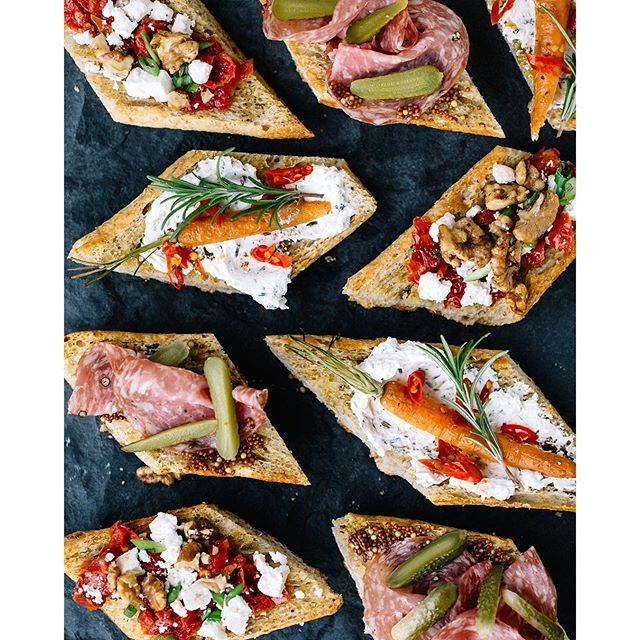 Crostini Bar: Carrot & Rosemary Over Cream Cheese, Salami With Grainy Mustard & Mini Gherkins And Peppered Walnuts Over Feta And Sun-dried Tomatoes