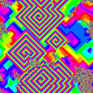 A two-dimensional cyclic cellular automaton after 400 steps starting from a random initial configuration.