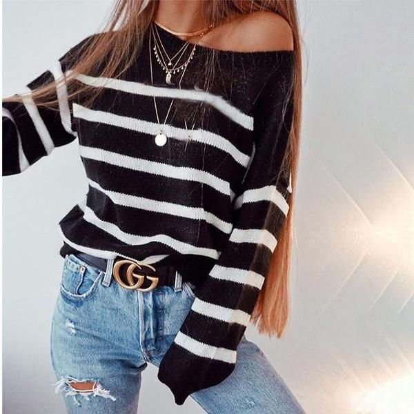 Striped Long-Sleeved Knit Sweater in 2019   Cute sweater   Pinterest f0eb3feeb0