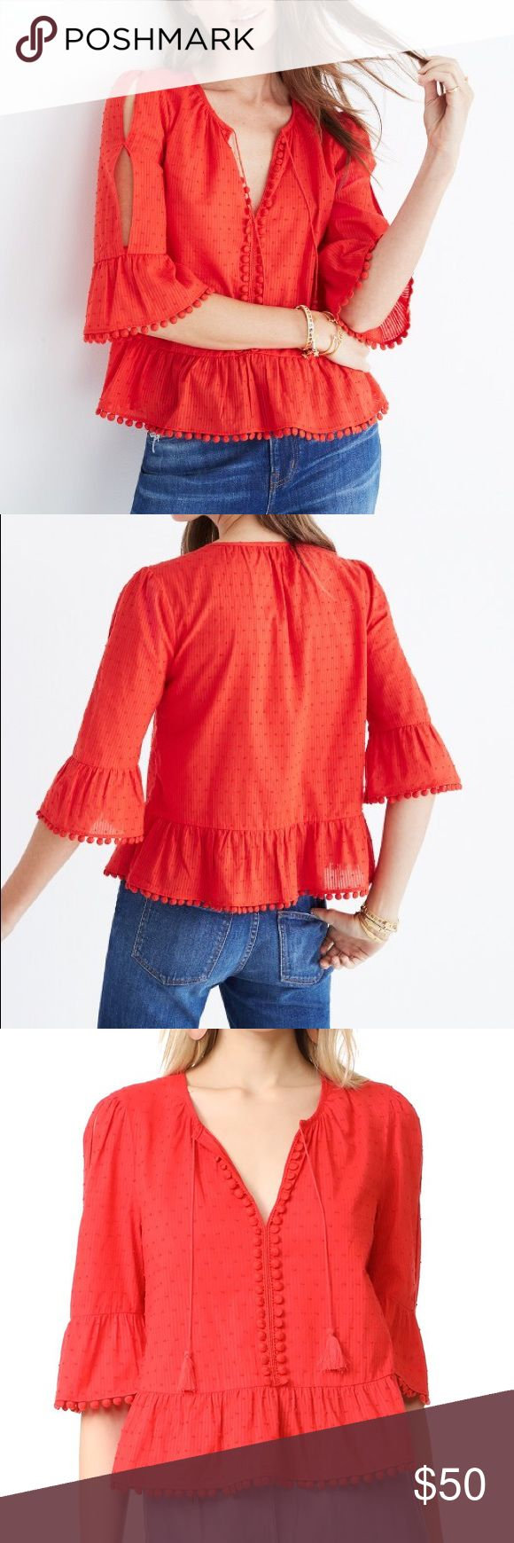 Madewell Red Peekaboo Pom Pom Tie Front Tassel Top Bundle & Save No Trades Brand New without Tags 3/4 Sleeve Blouse Madewell Tops Blouses