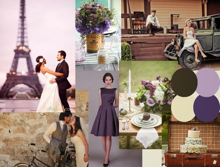 Vintage Travel Inspired Wedding Moodboard in Purples & Browns