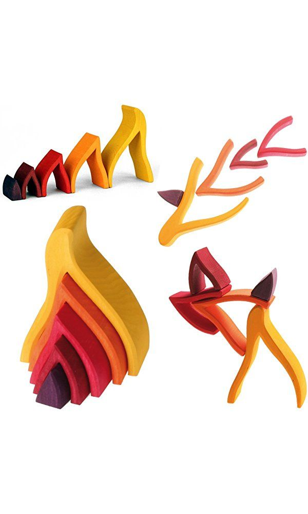 "Grimm's Small Flames Nesting Wooden Blocks Stacker, ""Elements"" of Nature: FIRE Best Price"