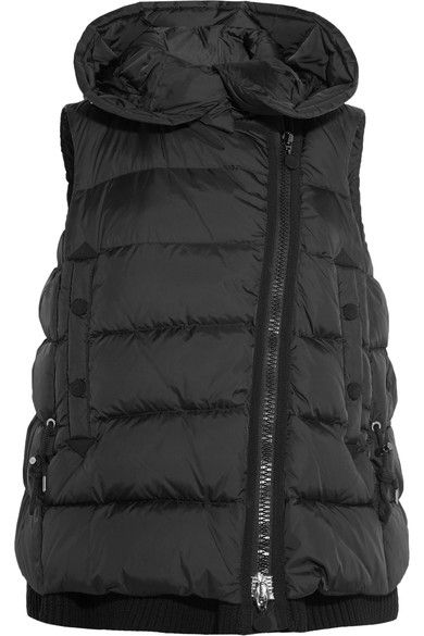 Black shell Button and asymmetric two-way zip fastenings through front 100% polyamide; lining: 100% polyamide; filling: 90% down (Goose), 10% feathers (Goose)  Dry clean Imported