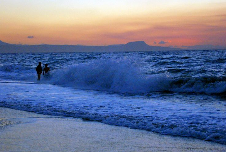Sunset on beach at Rethymnon, Crete