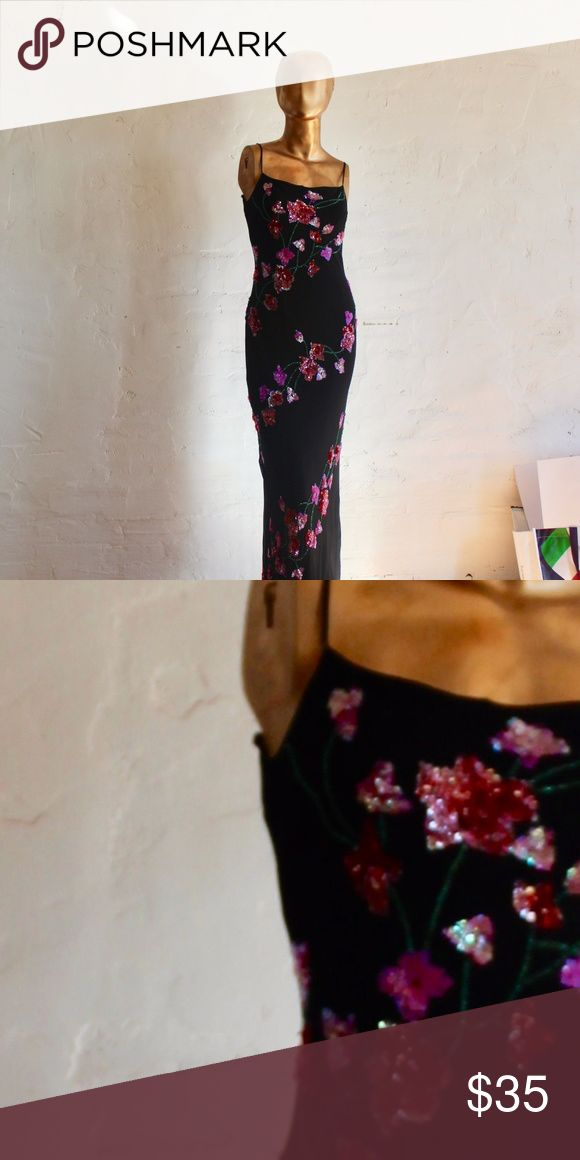 Sexy evening Dress FLoor length bias cut black evening dress with sequin floral embellishments. It has a lining so it is not see trough. Great dinner date dress! Dresses