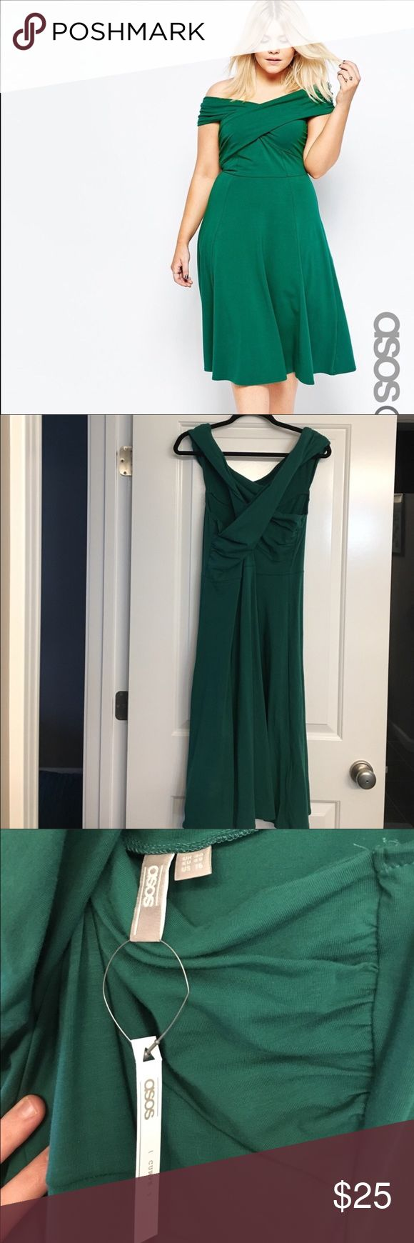 ASOS Emerald Green Dress Re-poshing because it's too big on me. Perfect condition. Just trying to make the money I spent. ASOS Curve Dresses