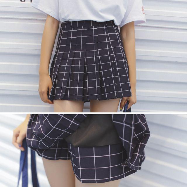 Южная Корея ulzzang клетчатая юбка летом высокой талии слово женщин юбки юбка брюки анти-свет плиссированные юбки студент юбка