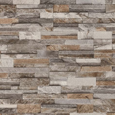 Brick effect wallpaper featuring a slate stone style. Perfect addition to any sort of room to gain character and personality. Lovely mix of brown, grey and beige, sits well on thick textured vinyl which creates a modern realistic atmosphere. | eBay!