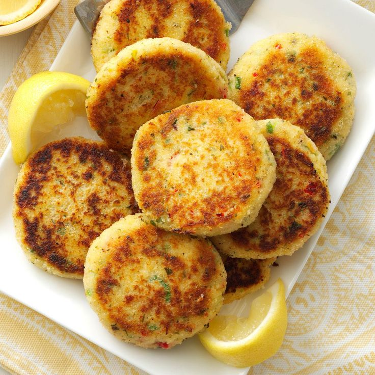 Easy Crab Cakes Recipe -Ready-to-go crabmeat makes these delicate patties ideal for dinner when you are pressed for time. You can also form the crab mixture into four thick patties instead of eight cakes. —Charlene Spelock, Apollo, Pennsylvania