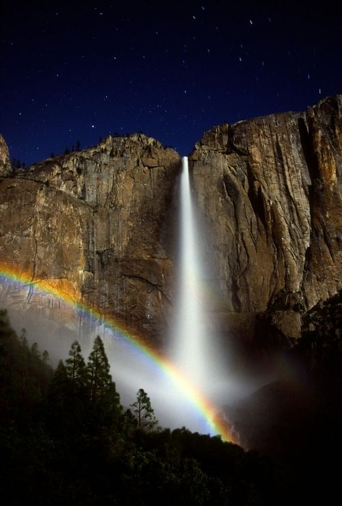 Yosemite Falls, Lunar Rainbow- a Moonbow!  I've only seen a partial one, nothing like the one in this picture. Beautiful!