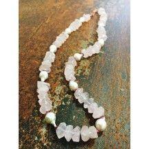 Collana di Quarzo Rosa, Elbaite e Perle