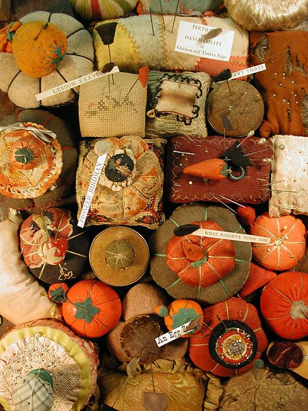 splendid collection of old pin cushions