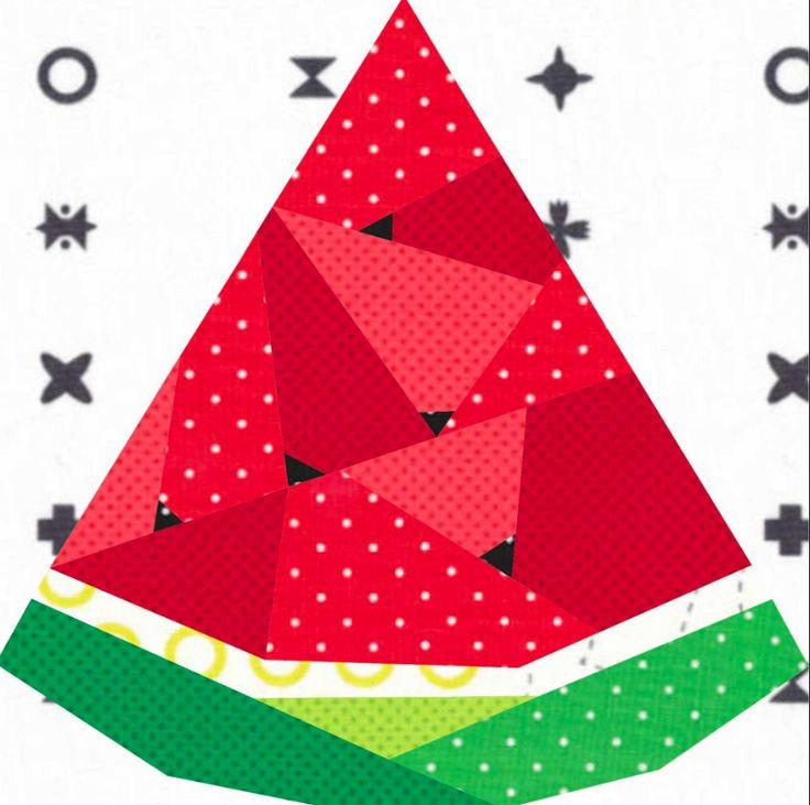 Free Quilt Pattern: Geometric Watermelon Paper Pieced Pattern