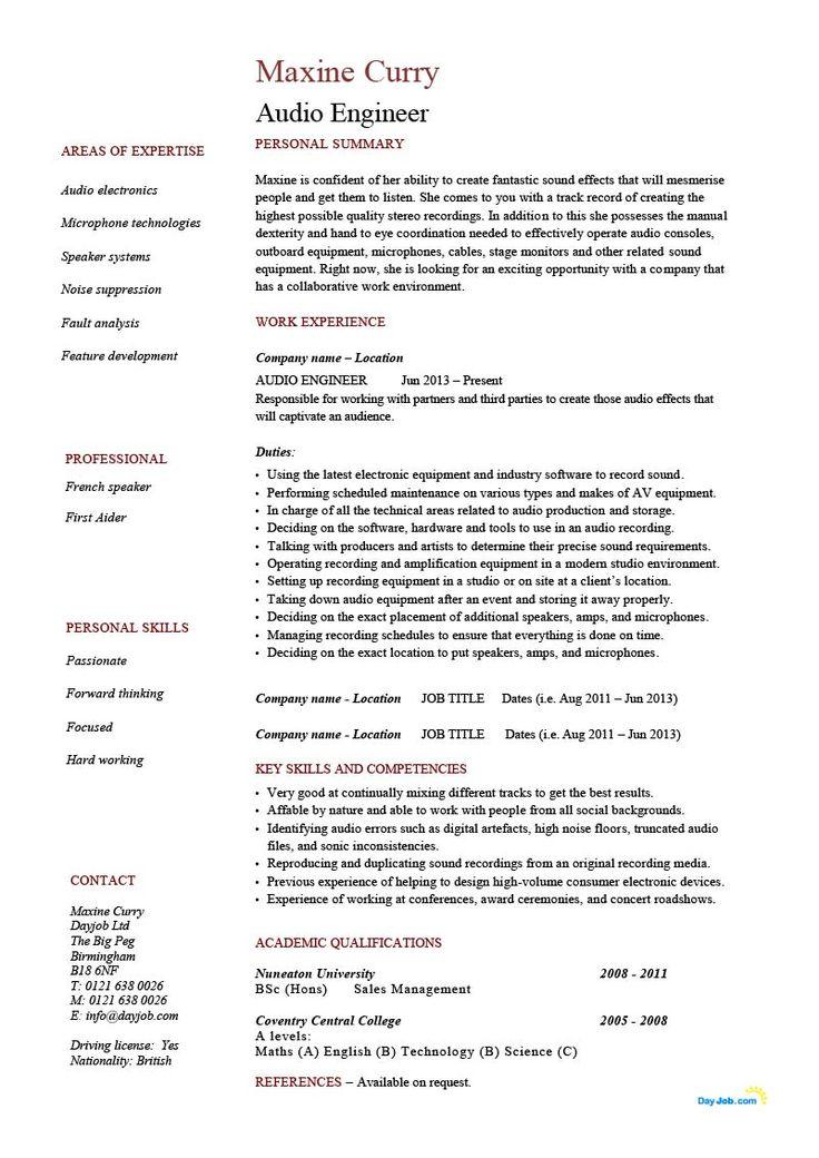 Audio engineer resume template example cv sound live
