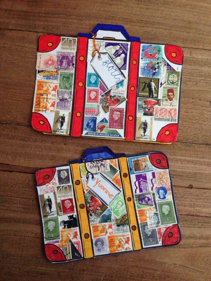 Vakantie koffer met postzegels